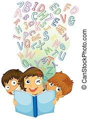 inglês, livro, leitura, crianças