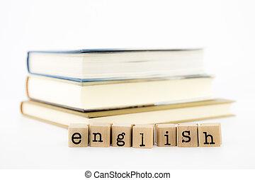 inglês, livros, pilha, fraseio