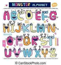 inglês, monstro, alphabet.