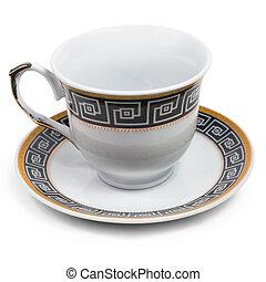 inglês, pires xícara, decorado, com, antigüidade, isolado