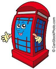 inglês, telefone vermelho, barraca