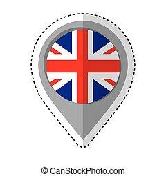 inglaterra, ícone, bandeira, alfinete, localização