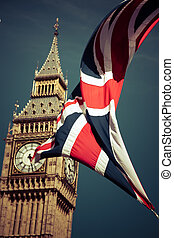 inglaterra, banderas, en el viento, delante de, big ben, londres, reino unido