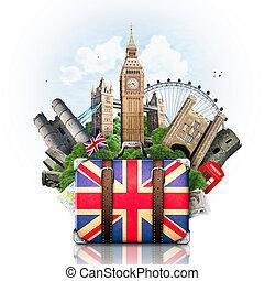 inglaterra, britânico, marcos, viagem