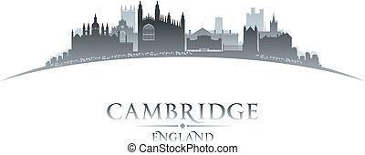 inglaterra, fundo, skyline, cambridge, cidade, silueta, ...