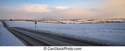 inglaterra, invierno, país, -, yorkshire, norte, camino