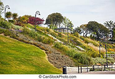 inglaterra, oeste, lyme, regis., seafront, jardins, dorset.