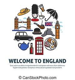 inglaterra, promo, nacional, bienvenida, símbolos, bandera