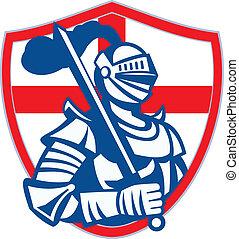 inglaterra, protector, caballero, bandera, retro, espada, inglés, asimiento