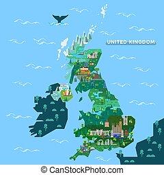 inglaterra, reino unido, mapa, con, famoso, señales