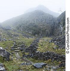 inglaterra, rocoso, yorkshire, otoño, dramático, otoño,...