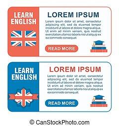 inglese,  baners,  set,  Horizont, imparare