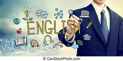 inglese, concetto, uomo affari, disegno