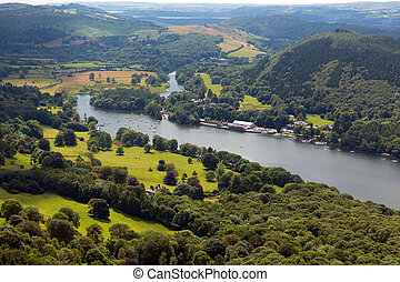 inglese, distretto, lago, vista elevata
