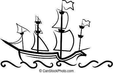 inglese, grande, nave
