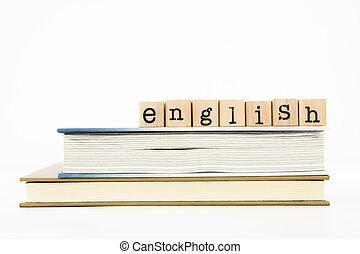 inglese, libri, dicitura