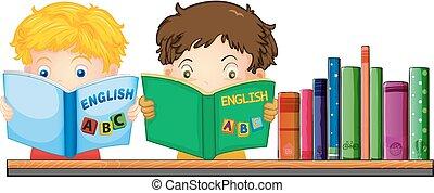 inglese, libro, lettura, bambini