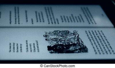 inglese, libro, su, schermo tocco, tavoletta