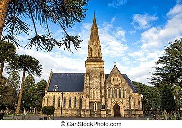 inglese, vecchio, cimitero, chiesa