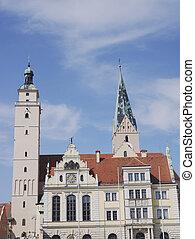 Ingolstadt town hall (Rathaus) with Pfeiffturm and Moritz...