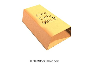 Ingot - Gold ingot isolated over white background, 3d render