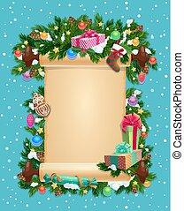 ingot, inverno, cartão, em branco, feriado, natal