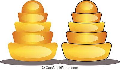 ingotsillustration, chinês, ouro, vetorial, fundo, ano, novo, branca