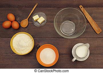 ingrédients, bois, above., pâte, confection, table., vue