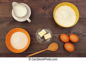 ingrédients, bois, traditionnel, above., pâte, confection, table., vue