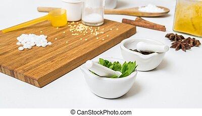 ingrédients, cosmetics., herbes, autre, fait maison, confection