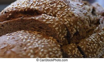 ingrédients, cuit, blé, bio, pain, maison, entier