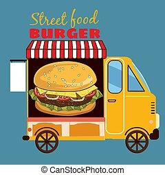 ingrédients, délicieux, nourriture, juteux, illustration, hamburger, rue, vecteur, voiture, paquet