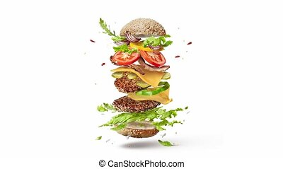 ingrédients, fait maison, vidéo, voler, hamburger.
