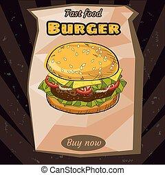 ingrédients, illustration, isolé, juteux, hamburger, vecteur, délicieux, paquet, emballage