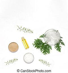 ingrédients, naturel, cosmetics., production