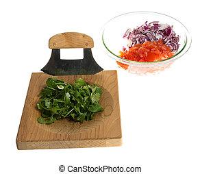 ingrédients, planche, couteau, couper