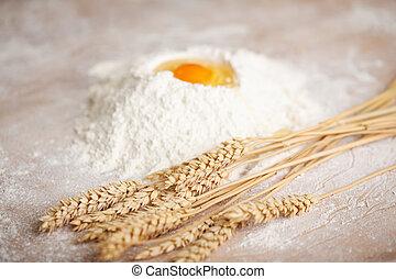 ingrédients, pour, frais cuit, pain