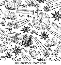 ingradients, 束, mulled, 星, アニス, pattern., seamless, 結ばれた, ...