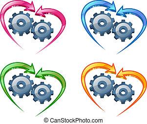 ingranaggi, e, frecce, in, il, forma, di, uno, heart.