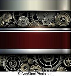 ingranaggi, fondo, metallico