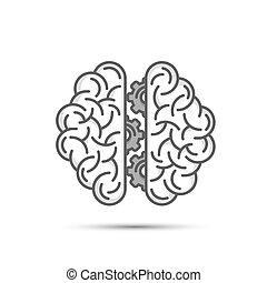 ingranaggio, cervello, pensare, illustrazione, fondo., vettore, bianco