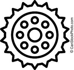 ingranaggio, contorno, pezzo, bicicletta, icona, stile, riparazione