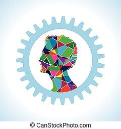 ingranaggio, esterno, di, testa umana