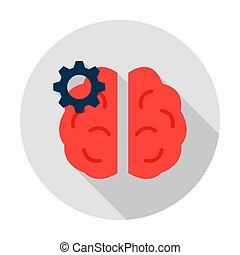 ingranaggio, icona, cervello, cerchio