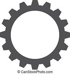 ingranaggio, illustrazione, fondo., vettore, nero, bianco, icona