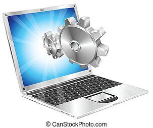 ingranaggio, laptop, denti, schermo, volare, concetto, fuori