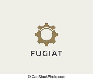 ingranaggio, logotype., auto, simbolo, corona, idea, vettore, logo., cogweel, reale