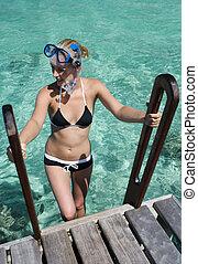 ingranaggio, -, pacifico, polynesia, aeratore, francese, ragazza, sud