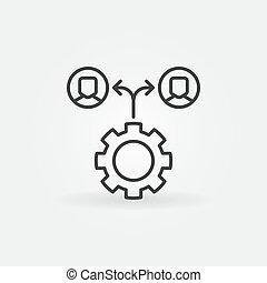 ingranaggio, persone, simbolo, -, outsourcing, vettore, linea, icona