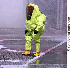 ingranaggio protettivo, giallo, contro, biologico, uomo, rischio